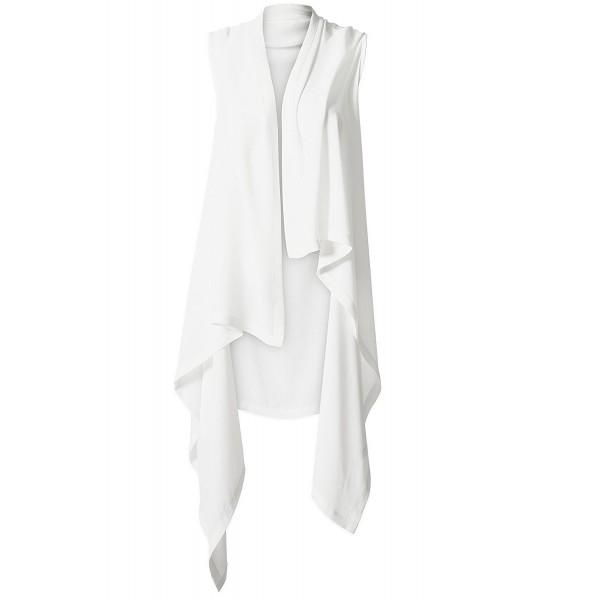 ba046cd07c2 Sheer Long Cardigan- Open Front Chiffon Shawl- Women Lightweight Sleeveless  Vest - White - C9184X0GOMM