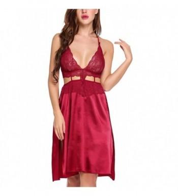 4e0127e51dc Women Lingerie Satin Slip Hollow Lace Babydoll Nightie Dress Slit ...