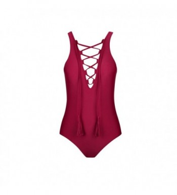 Front Strappy Swimsuit Bathing Winered M