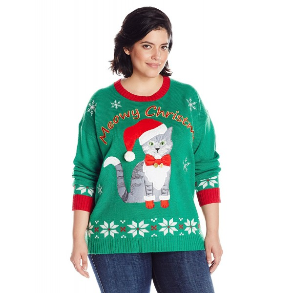 Plus Size Ugly Christmas Sweater.Women S Plus Size Meowy Cat Ugly Christmas Sweater With Bells Green Red Cp12kssq8h9