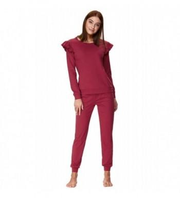 88679abd4670 Women s Long Sleeve Pajamas Set With Pants Cotton Loungewear ZE0107 ...
