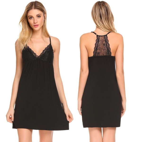 b13695931a ... V-Neck Nightgown Full Slip Lace Lounge Dress - Black - C9180HTQCTY.  MAXMODA Womens Sleepwear Chemise Nightgown