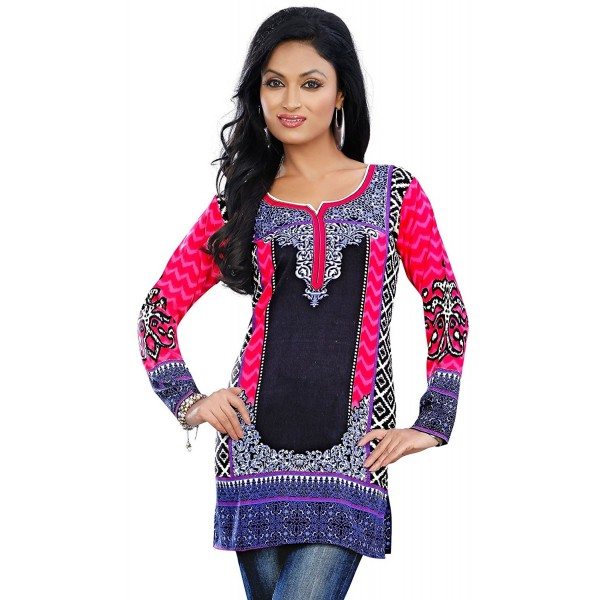 11f0501e87 ... Kurti Tunic Top Printed Womens Blouse India Clothes - Pink -  C411UIZWYNF. Indian Printed Womens Blouse Clothes