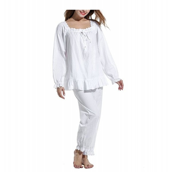 246b2319689 Womens 2 Set Cotton Victorian White Long Sleeve Pajama Set Nightgown ...