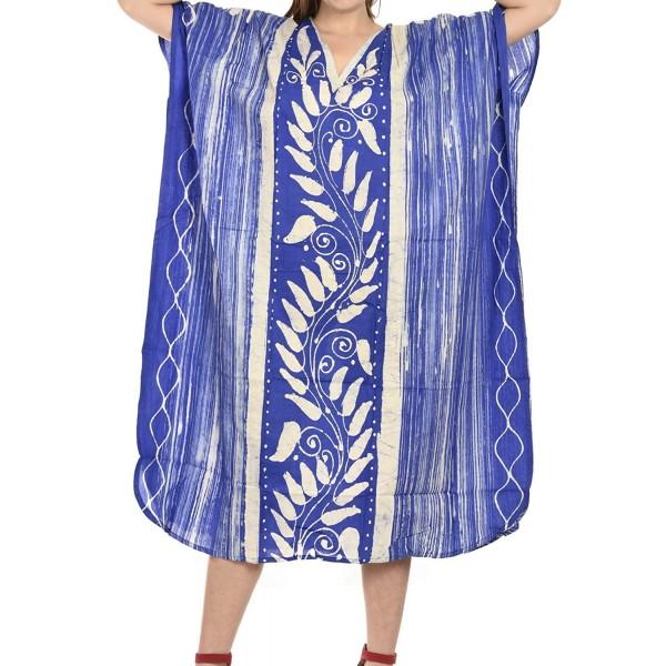 Hand Batik 100% Cotton Hand Paint Long Lounge Wear Caftan Women Dress Plus  Size Kimono Maxi - Blue - CP12OCS9W0N