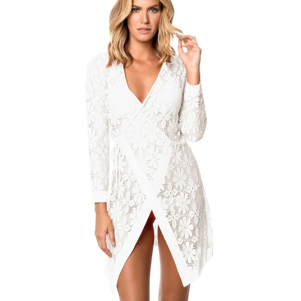 1d850a1b03 ... Tunic Beach Dress Bikini Cover Up Net - White - C718C564W60. SWOMOG Womens  Fashion Swimwear Crochet