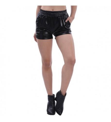 Fancyqube Womens Leather Metallic Shorts