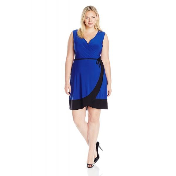 f3f8d733cb4 Women s Plus-Size Sleeveless Surplice Bodice Tulip Wrap Skirt Short ...
