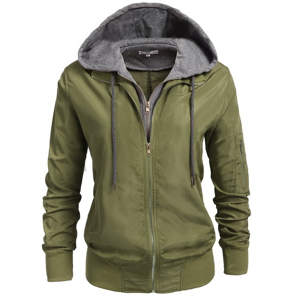 Womens Relaxed Fit Zip Up Hoodie Military Anorak Bomber Jacket S-XXL - Army  Green - CW185N9AMDX 3863315d6