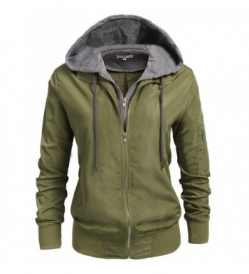 6f58aae000797 Womens Relaxed Fit Zip Up Hoodie Military Anorak Bomber Jacket S-XXL ...