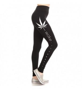 Womens Ladies Woorkout Marijuana Legging