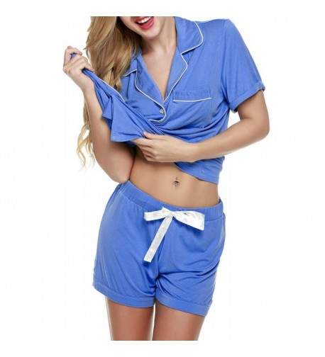 Fanala Womens Summer Button Up Pajamas