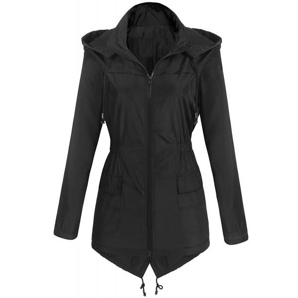 36e6e3879 Womens Lightweight Raincoat Hooded Waterproof Active Outdoor Rain Jacket -  Black - CZ189KOZ8SL