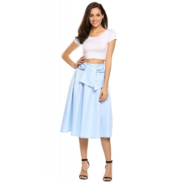 73061f154 ... Women's Knee Length High Waist A Line Skater Mid-Calf Midi Skirt -  Light Blue Grey - CG182H6843S. Zeagoo Womens Waisted Skater Pleated