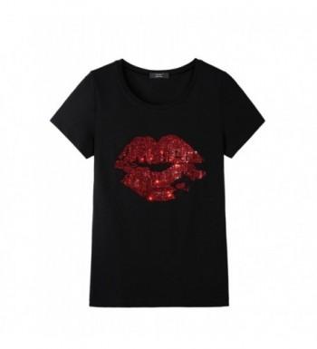 YAMY Blingbling Womens T Shirt Rhinestones