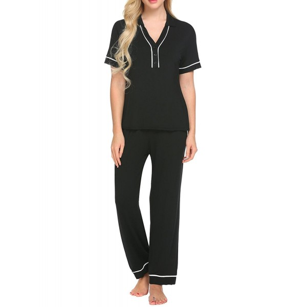 530688d112 Pajamas Women s V-Neck Front Button Short Sleeve Sleepwear Soft PJ ...