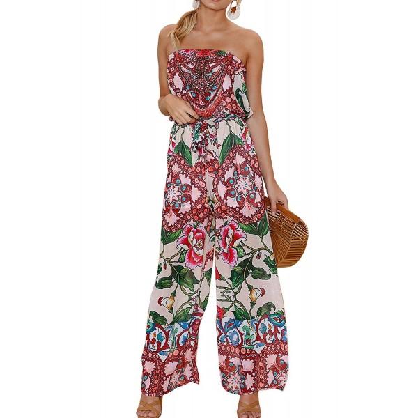 5b78585468 Womens Off Shoulder Floral Print Strapless Jumpsuit Wide Leg Rompers ...