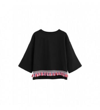 Floerns Womens Tassels Pullover Sweatshirt
