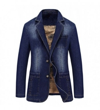 MOGU Mens Button Denim Blazer
