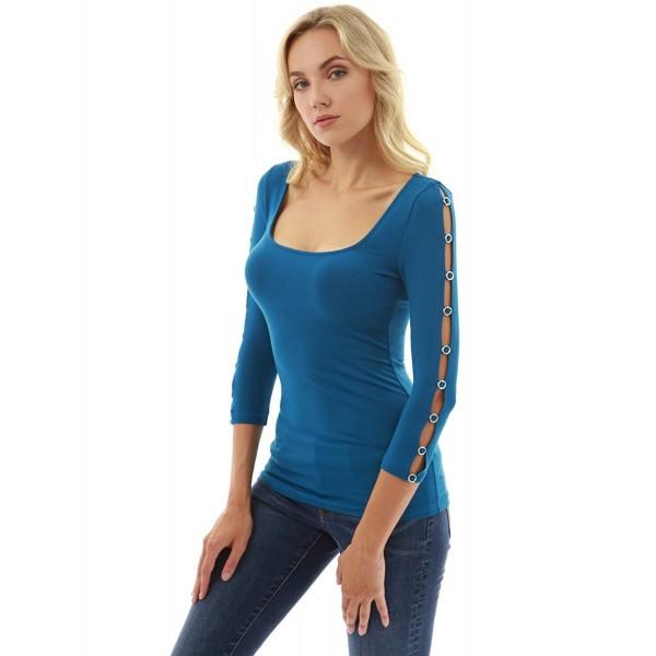 66cf718c106 Women's Square Neck Slit 3/4 Sleeve Blouse - Teal - CA186K0YDUA