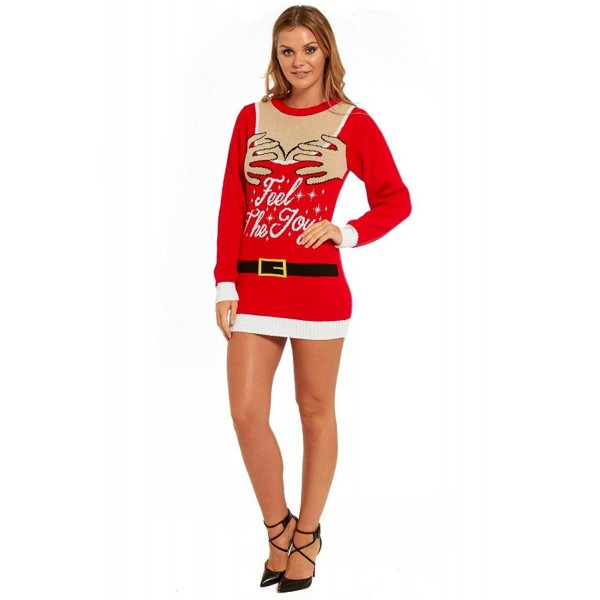 1ab484202f34 Ladies Christmas Sweater Dress Womens Tunic Xmas - Red - CP12K6Q5AGR. YOU  LOOK UGLY TODAY SweaterFeel