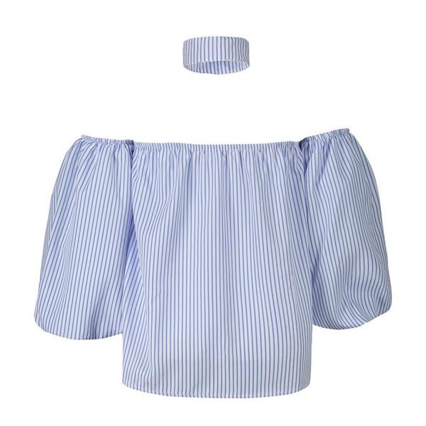 HAPEE Shoulder Blouses Sleeve Striped
