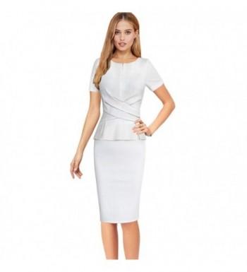 VfEmage Womens Elegant Ruched Zipper