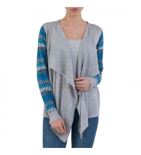 NOVICA Sleeve Cotton Cardigan Sweater