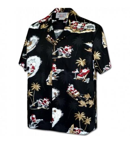 Tropcial Santa Christmas Hawaiian 3922 BLACK XL
