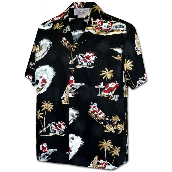 Tropcial Santa Christmas Hawaiian 3922 BLACK XL