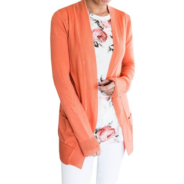 fa3a29cecb ... Womens Casual Open Front Long Sleeve Knit Cardigan Oversized Sweater  With Pocket - Orange - CE1867C3D70. Remikst Cardigan Sweaters Sleeve Casual