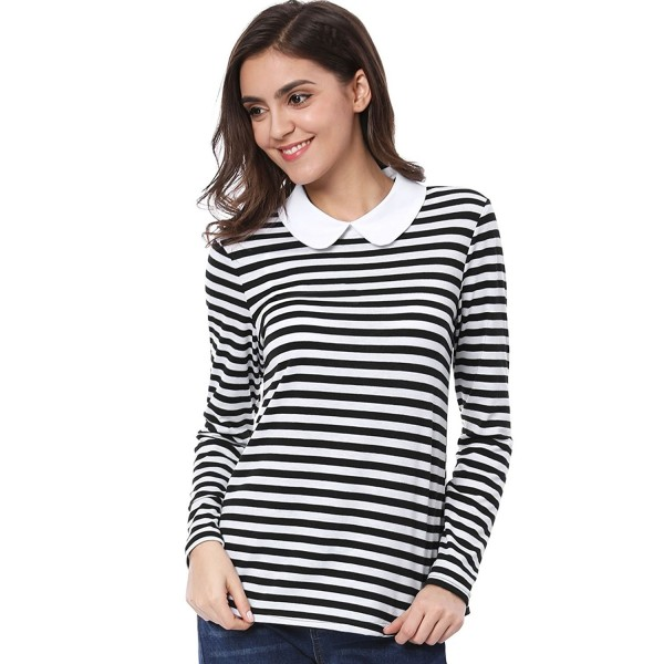 3d966d8c1 Women's Long Sleeves Striped Contrast Peter Pan Blouse Top - Black ...