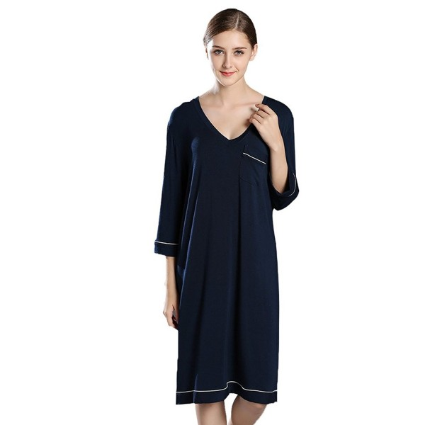 8bbbb75d12 Women Pajamas Sleep Shirt Dress Long Sleeve Nightshirt Soft Nightie ...