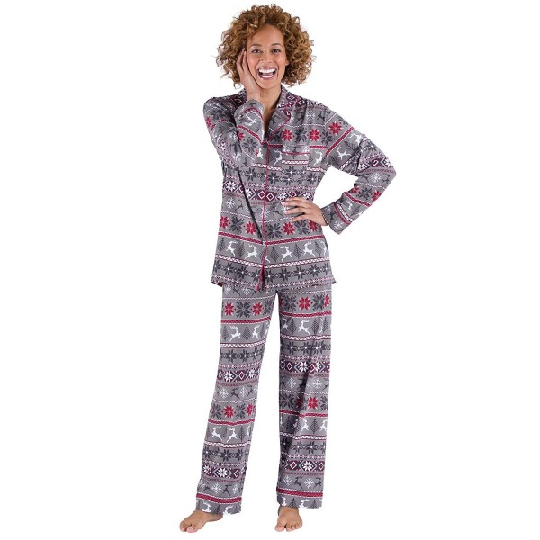 d8fc64396592 Women s Holiday Pajamas with Button-Up Top - Gray - CE17YUG07KX