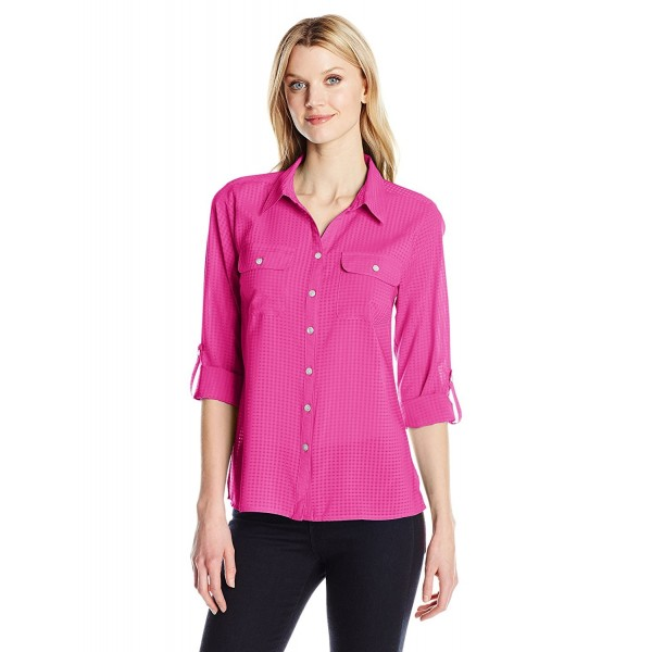 Notations Womens Utility Blouse Magenta
