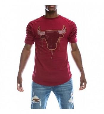 UPSCALE Rhinestone Graphic T Shirt Burgundy