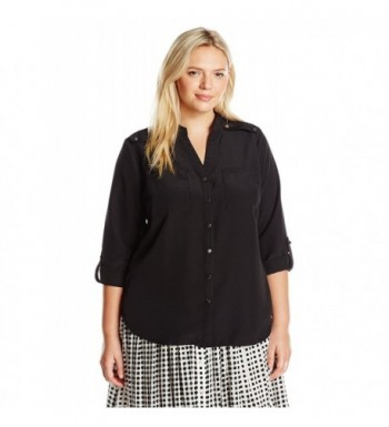 Notations Womens Rolled Sleeve Madarin