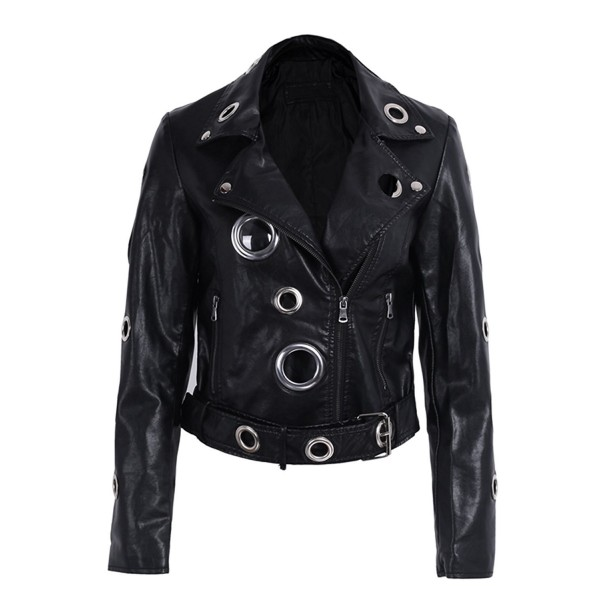 BerryGo Womens Belted Leather Jacket