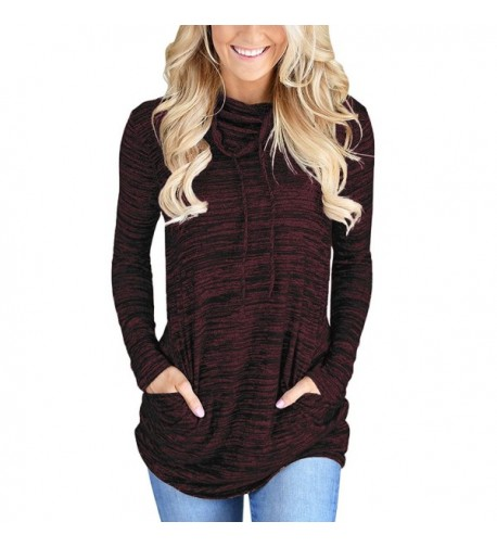 LOSRLY Casual Sweatshirt Kangaroo Pocket Wine