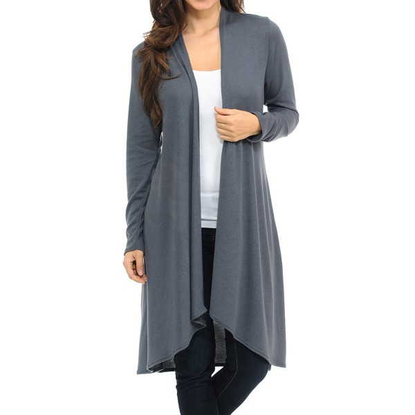 81e6f0cd256ce3 Womens Long Sleeve Open Front Hacci Sweater Long Cardigan - Slate ...