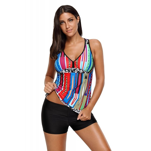 Womens Swimsuits Stripes Raceback Tankini Top With Boyshort Bathing Suits -  Multicolor - CN184YZA3CM