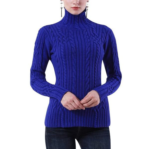 5d804055064 Women s Cable Knit Long Sleeves High Neck Pullover Sweaters - Blue ...