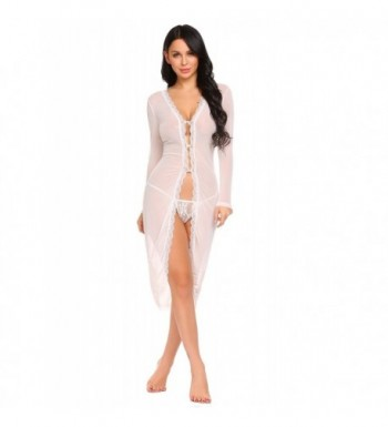 602b8d69daf Sexy Lingerie Gown Long Lace Nighdress See Through Nightgown Cover UPS  S-XXL - Mesh Robe-white - C71804OA22E