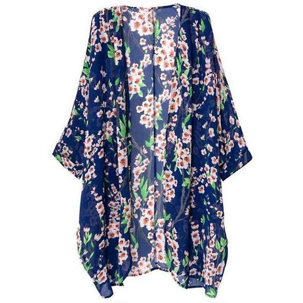 e1f49e068 Women's Bikini Cover up Loose Floral Print Chiffon Kimono Cardigan ...