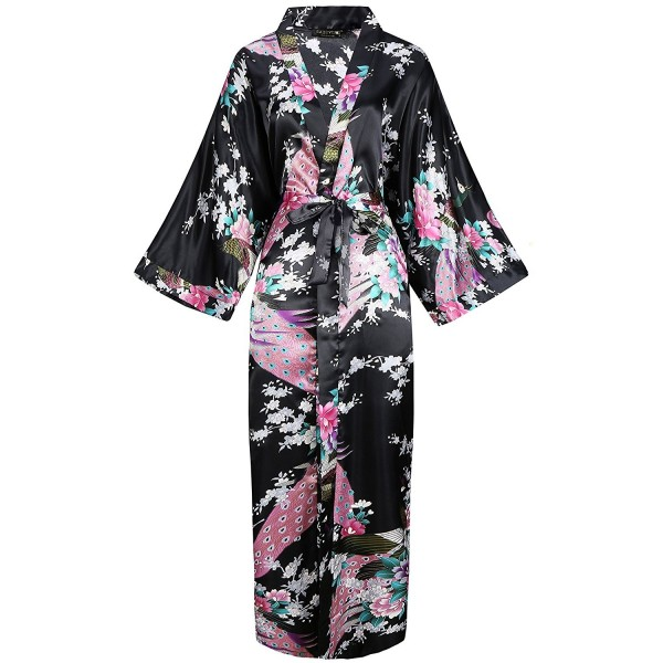 Women s Kimono Robe Long Robes With Peacock and Blossoms Printed ... cc9ffa8a3