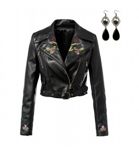Sitengle Women Leather Jacket Embroidery