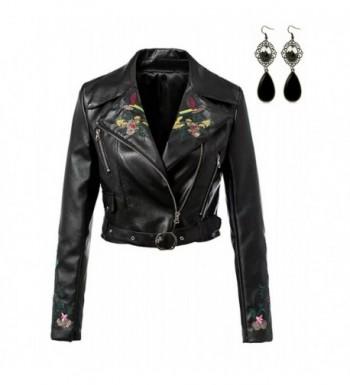 Sitengle Women Leather Jacket Embroidery