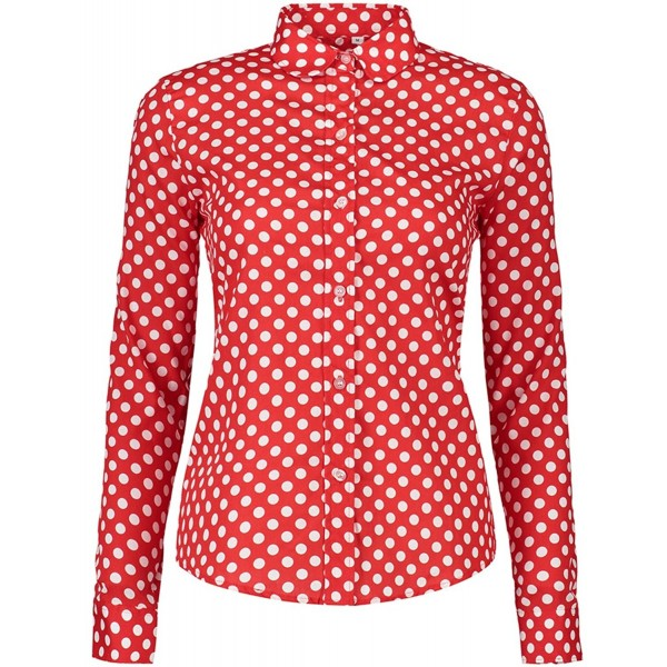 c3c3efb936d Women s Tops Feminine Long Sleeve Polka Dotted Button Down Casual ...