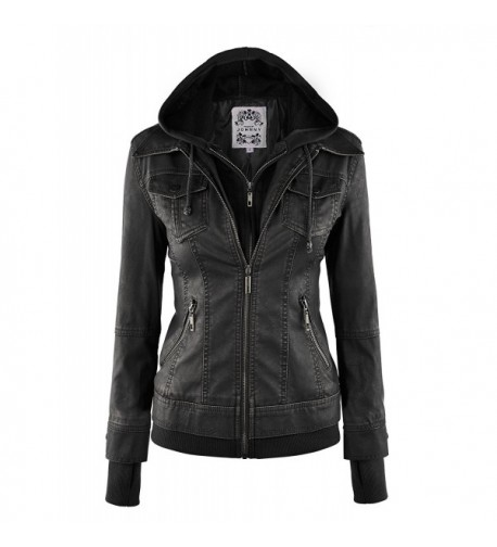 WJC664 Womens Leather Jacket Hoodie