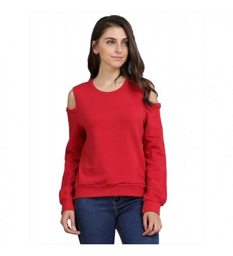 FURAMI Womens Sweatshirt Shoulder Pullover